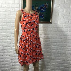 Pim + Larkin Orange & Blue Floral Dress S